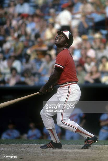 Al Bumbry of the Baltimore Orioles swings and pops the ball up against the Minnesota Twins during a Major League Baseball game circa 1982 at Memorial...