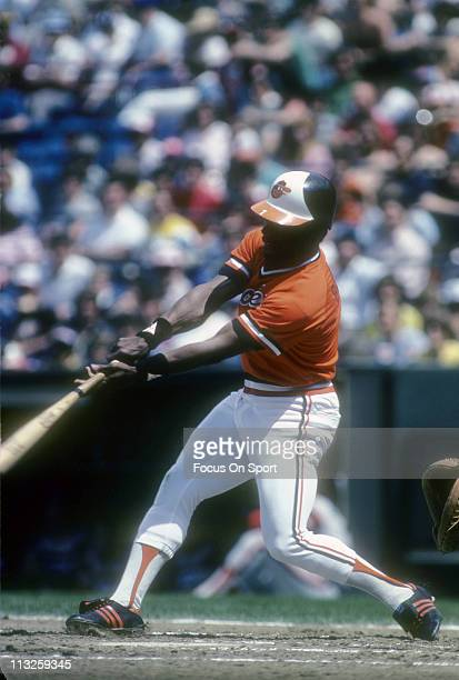 Al Bumbry of the Baltimore Orioles swings and puts the ball in play during a Major League Baseball game circa 1982 at Memorial Stadium in Baltimore...