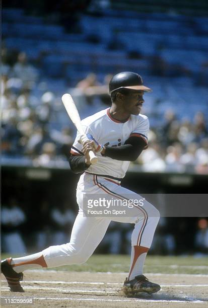 Al Bumbry of the Baltimore Orioles swings and puts the ball in play during a Major League Baseball game circa 1974 at Memorial Stadium in Baltimore...