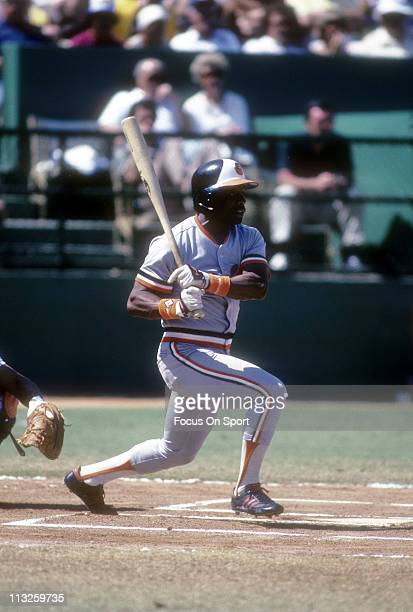 Al Bumbry of the Baltimore Orioles swings and watches the flight of his ball during a Major League Baseball game circa 1975 Bumbry played for the...