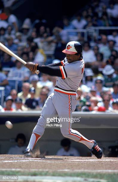 Al Bumbry of the Baltimore Orioles swings at a pitch during a game against the New York Yankees in 1980 at Yankee Stadium in the Bronx New York