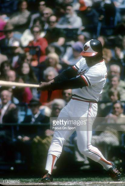 Al Bumbry of the Baltimore Orioles swings at a pitch during a Major League Baseball game circa 1975 at Memorial Stadium in Baltimore Maryland Bumbry...