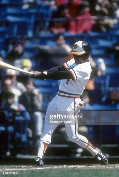 Al Bumbry of the Baltimore Orioles swings at a pitch during a Major League Baseball game circa 1983 at Memorial Stadium in Baltimore Maryland Bumbry...
