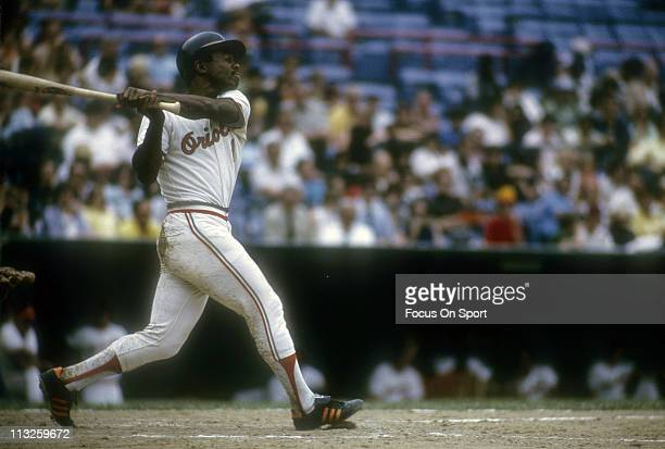 Al Bumbry of the Baltimore Orioles swings at a pitch during a Major League Baseball game circa 1974 at Memorial Stadium in Baltimore Maryland Bumbry...
