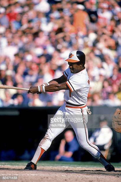 Al Bumbry of the Baltimore Orioles swings the bat during a game in 1980 at Oriole Park in Baltimore Maryland