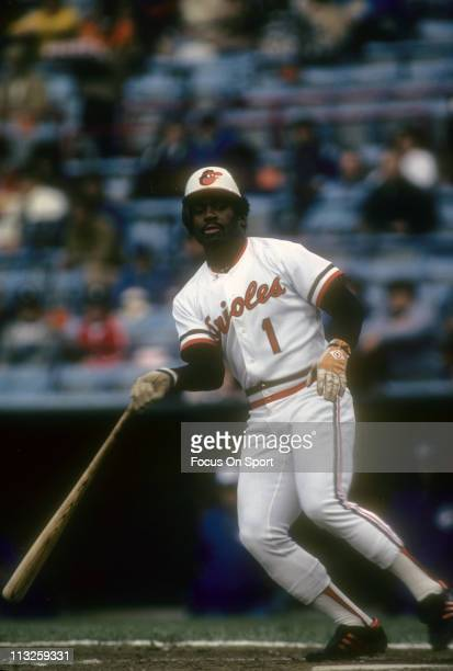 Al Bumbry of the Baltimore Orioles throws his bat away after taking ball four during a Major League Baseball game circa 1981 at Memorial Stadium in...