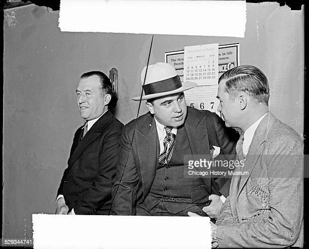 Al Capone and attorney William F Waugh with unidentified man Chicago Illinois 1929