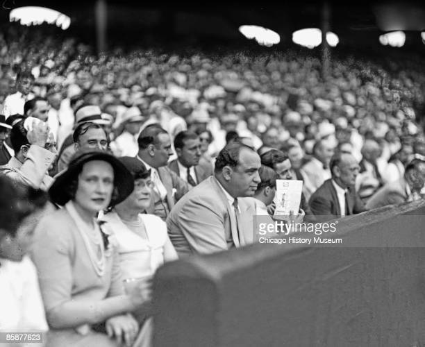 Al Capone is pictured amongst the crowd, enjoying a ballgame at White Sox game at Comiskey Park, Chicago, 1931.