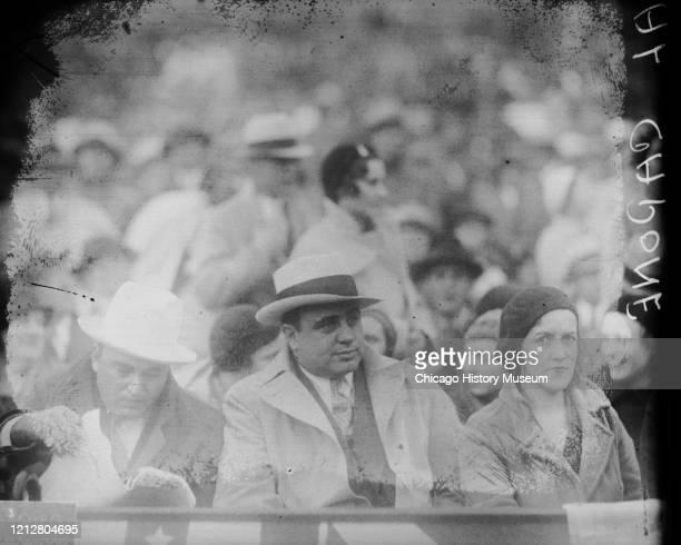 Al Capone John Capone and Mrs Ralph Capone at baseball game 1931