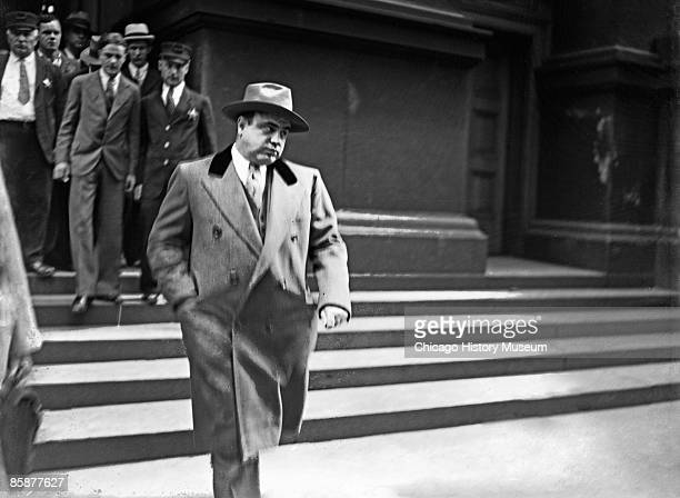 Al Capone on the day of his release from jail, Chicago, 1939. He moved to Palm Island, Florida, never to take over his old crime organization, and...