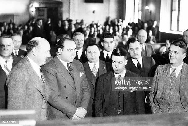 Al Capone, pictured in court during his trial, Chicago, 1931. He was sentenced to a 10 years in federal prison and one year in county jail for a...