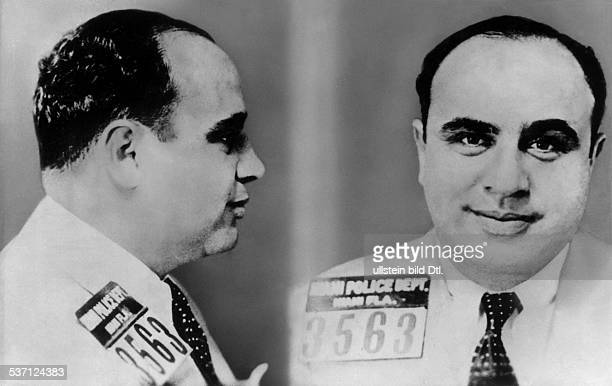 Al Capone, US gangster, portrait in arrest. Around 1930