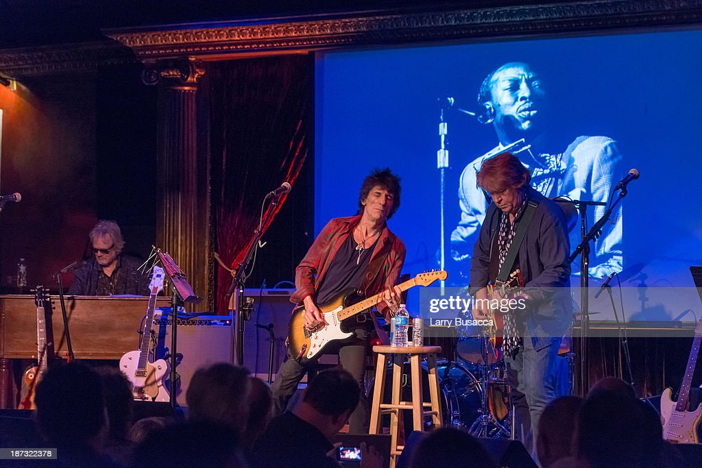 Al Cooper, Ronnie Wood and Mick Taylor perform at The Cutting Room on November 7, 2013 in New York City. Ronnie Wood of the Rolling Stones made a rare club appearance at New York's premiere music venue and nightclub, The Cutting Room. Ronnie was performing the music of Jimmy Reed. Musical icons Mick Taylor, Al Cooper, Simon Kirk, Gary Clark Jr. and others joined him on stage.