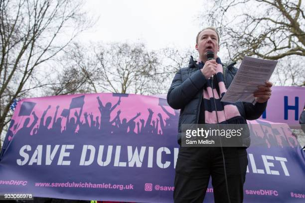 Al Crane Dulwich Hamlet supporters' trust chairman speaks to Fans and supporters of Dulwich Hamlet Football Club during a protest march from Goose...