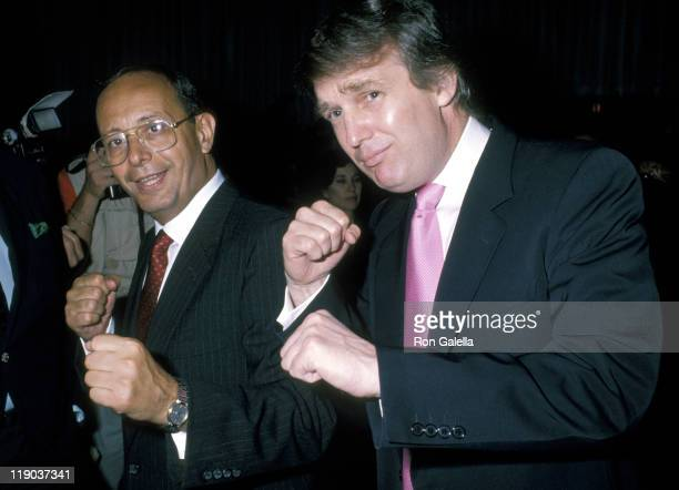 Al D'amato and Donald Trump during Mike Tyson vs Carl Williams July 21 1989 at Trump Plaza in Atlantic City New Jersey United States