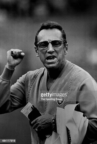Al Davis of the Oakland Raiders pumps his fist circa 1980s