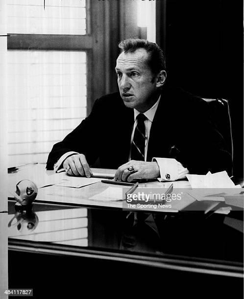 Al Davis of the Oakland Raiders sits at his desk circa 1980s