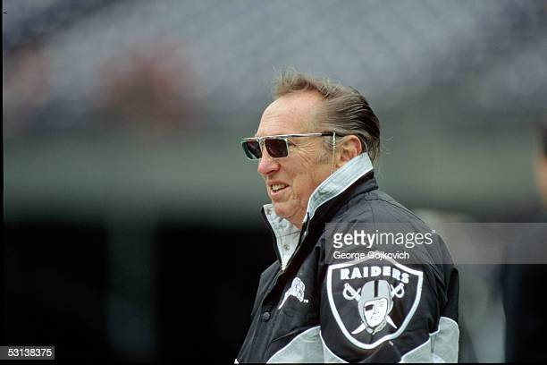 Al Davis owner of the Oakland Raiders watches his team on the field prior to a game against the Cincinnati Bengals at Riverfront Stadium November 5...