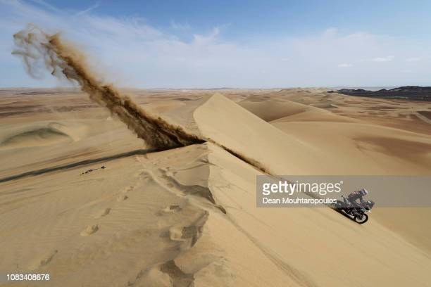 Al Desert No.45 Motorbike ridden by Arnold Brucy of France competes in the sand, desert and dunes during Stage Nine of the 2019 Dakar Rally near Ica...