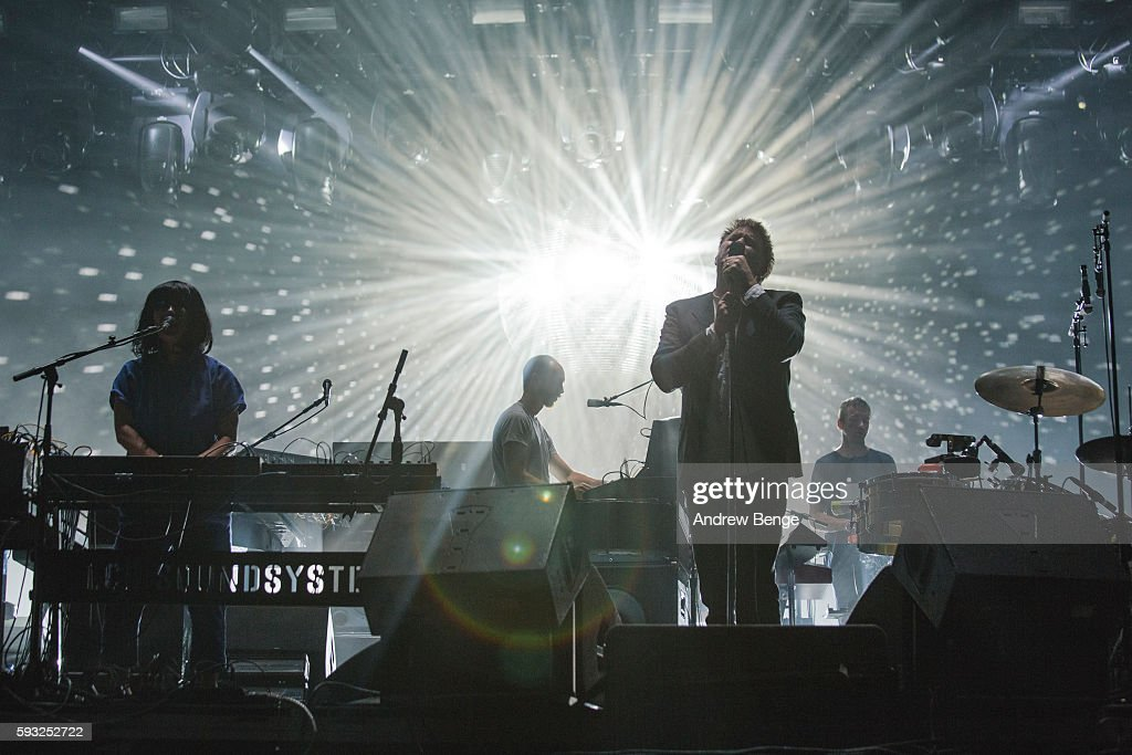 Al Doyle, Nancy Wong and James Murphy of LCD Soundsystem perform on the Alpha Stage during day 3 of Lowlands Festival 2016 on August 21, 2016 in Biddinghuizen, Netherlands.