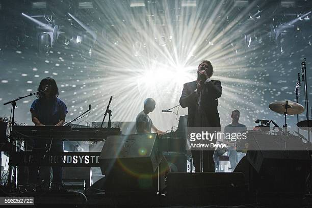 Al Doyle Nancy Wong and James Murphy of LCD Soundsystem perform on the Alpha Stage during day 3 of Lowlands Festival 2016 on August 21 2016 in...