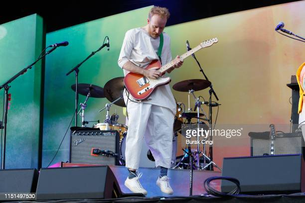 Al Doyle of Hot Chip performs during the All Points East Festival at Victoria Park on May 24 2019 in London England