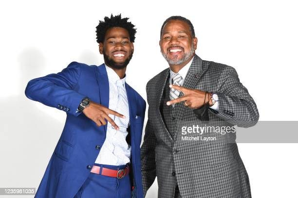 Al Durham and head coach Ed Cooley of the Providence Friars pose for a photo during the Big East Media Day at Madison Square Garden on October 19,...