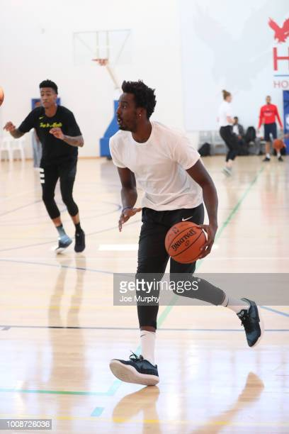 Al FarouqAminu of the Portland Trail Blazers drives during the Basketball Without Boarders Africa program at the American International School of...