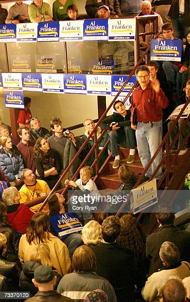 Al Franken speaks to a crowd of supporters outside the Dos Amigos restaurant on February 19 2007 in Rochester Minnesota Franken discussed his...