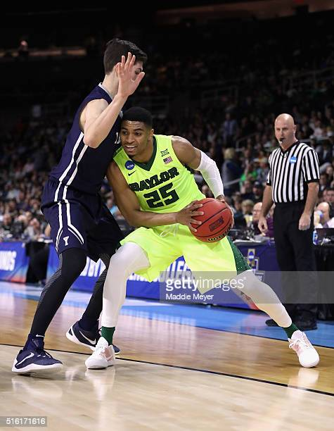 Al Freeman of the Baylor Bears handles the ball in the first half against the Yale Bulldogs during the first round of the 2016 NCAA Men's Basketball...