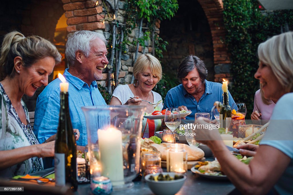 Al Fresco Dining by Candlelight : Stock Photo