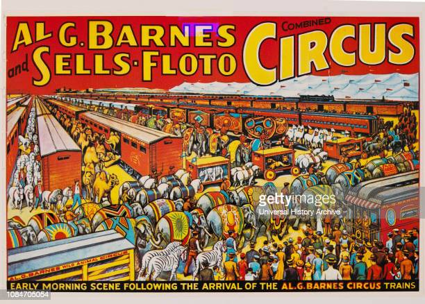Al G Barnes and SellsFloto Combined Circus Early Morning Scene Following the Arrival of the Al G Barnes Circus Trains Circus Poster Lithograph 1937