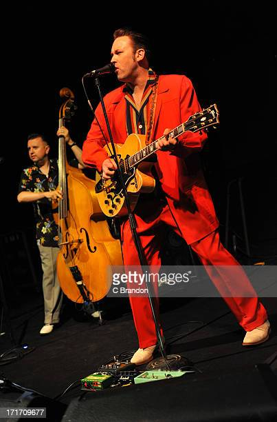 Al Gare and Darrel Higham of Kat Men performs on stage at O2 Shepherd's Bush Empire on June 21 2013 in London England