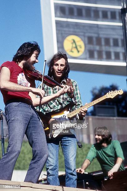 Al Garth and Jim Messina performing with 'Loggins and Messina' at the Oakland Coliseum in Oakland California on August 3 1976