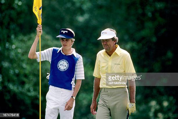 Al Geiberger and his caddie during the 67th PGA Championship held at Cherry Hills Country Club in Englewood Colorado August 811 1985