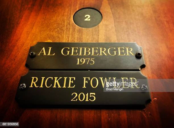 Al Geiberger and Rickie Fowler's locker during practice for THE PLAYERS Championship on THE PLAYERS Stadium Course at TPC Sawgrass on May 7 2017 in...