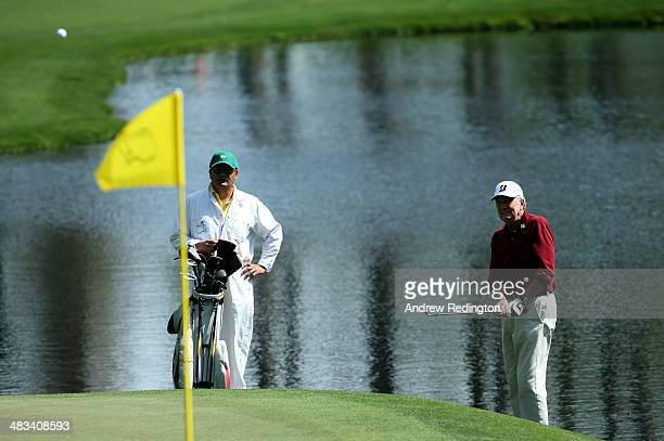 Al Geiberger hits a shot during a practice round prior to the start of the 2014 Masters Tournament at Augusta National Golf Club on April 8 2014 in...