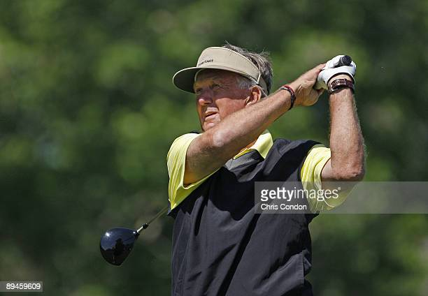 Al Geiberger hits from the 14th tee during the final round of the Demaret competition at the Liberty Mutual Legends of Golf at Westin Savannah Harbor...
