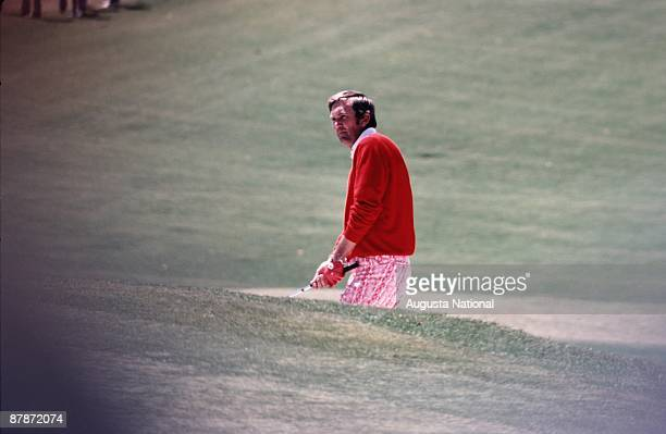 Al Geiberger hits out of a bunker during the 1972 Masters Tournament at Augusta National Golf Club in April 1972 in Augusta Georgia