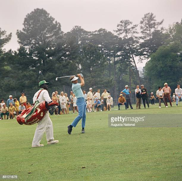 Al Geiberger pitches up to the 1st green during the 1969 Masters Tournament at Augusta National Golf Club in APRIL 12th 1969 in Augusta Georgia