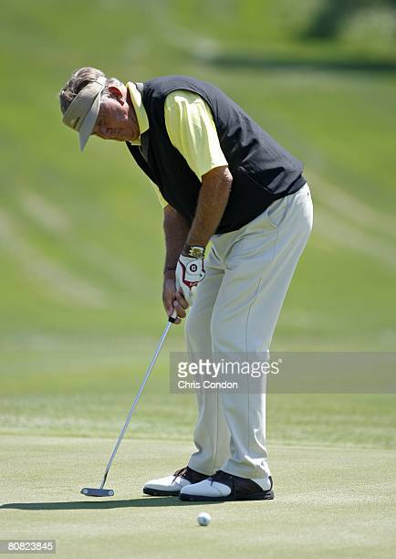 Al Geiberger Putts for birdie on during the final round of the Demaret competition at the Liberty Mutual Legends of Golf at Westin Savannah Harbor...