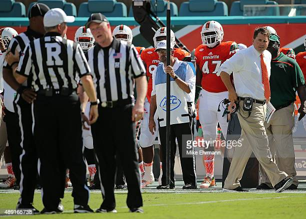 Al Golden head coach of the Miami Hurricanes looks on during a game against the Nebraska Cornhuskers at Sun Life Stadium on September 19, 2015 in...