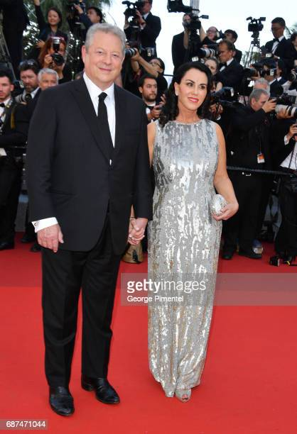 Al Gore and Elizabeth Keadle attend the 70th Anniversary screening during the 70th annual Cannes Film Festival at Palais des Festivals on May 23 2017...