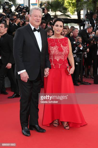 Al Gore and Elizabeth Keadle attend the An Inconvenient Truth premiere during the 70th annual Cannes Film Festival at Palais des Festivals on May 22...