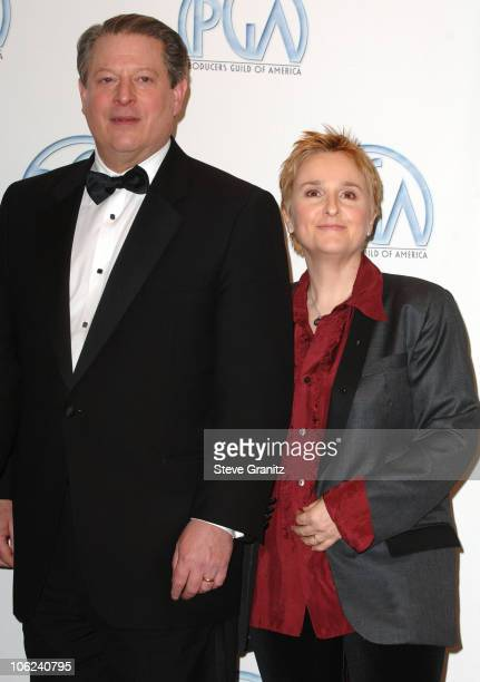 Al Gore and Melissa Etheridge during 2007 Producers Guild Awards Press Room at Century Plaza Hotel in Century City California United States