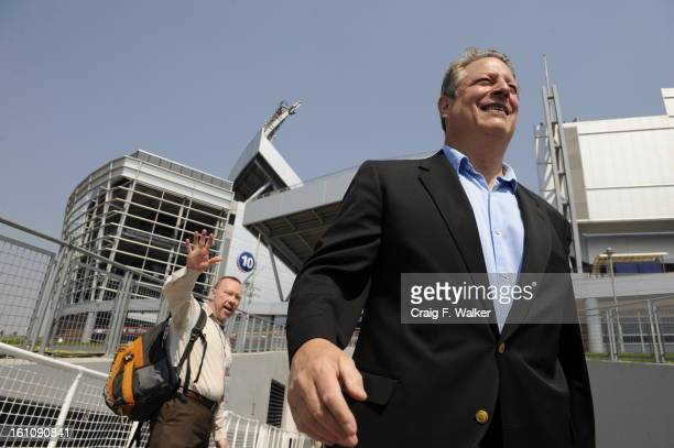 Al Gore arrives at Invesco Field at Mile High during the fourth and final day of the Democratic National Convention on Thursday morning August 28 2008