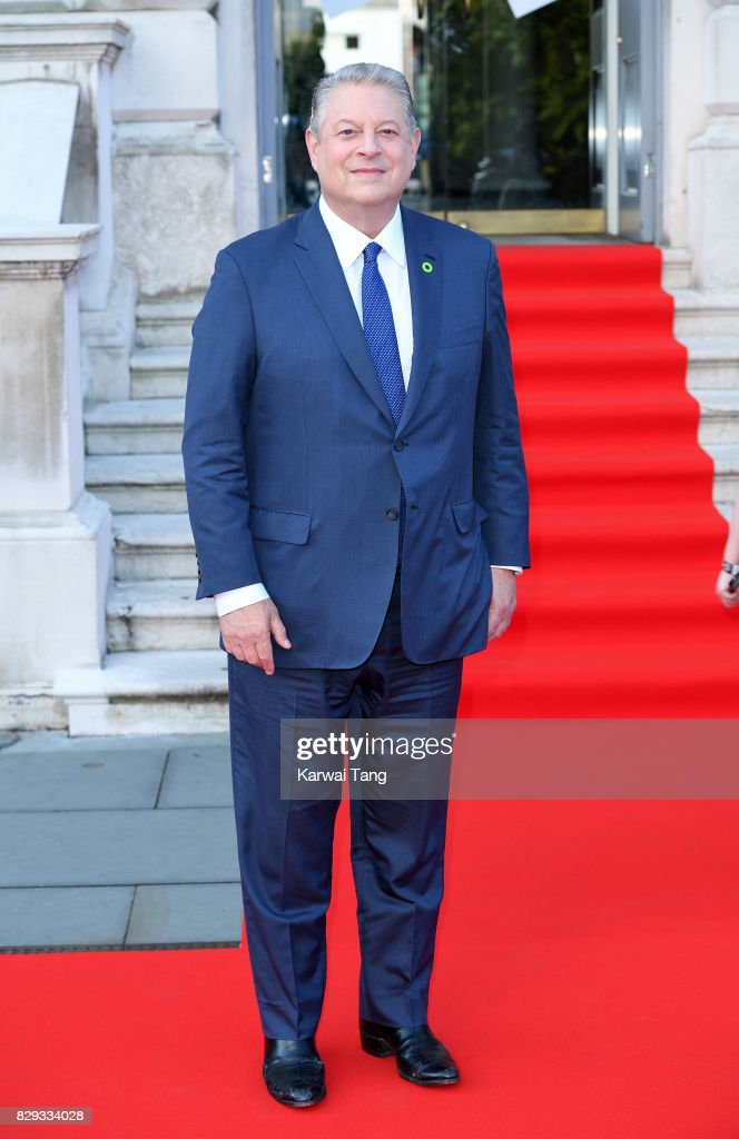 Al Gore attends the 'An Inconvenient Sequel: Truth To Power' premiere at Somerset House on August 10, 2017 in London, England.