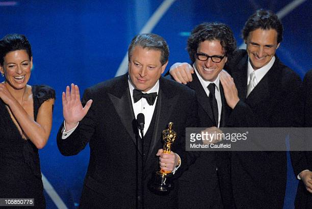 """Al Gore, Davis Guggenheim and producers accepts Best Documentary Feature award for """"An Inconvenient Truth"""""""