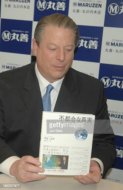 Al Gore during Al Gore An Inconvenient Truth Japanese Edition Launch Press Call and Book Signing at Maruzen Marunouchi Main Store in Tokyo Japan