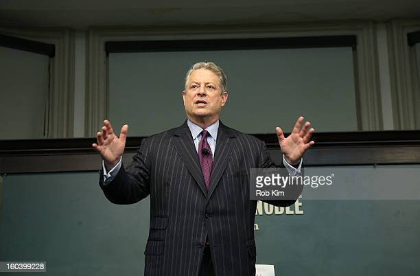 Al Gore promotes his new book The Future at Barnes Noble Union Square on January 30 2013 in New York City